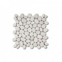 Dalle de galets mats Blanc 300x300mm
