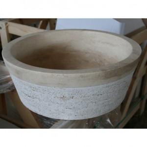 Vasque Travertin Turc beige Ø 400 x 150 mm avec stries