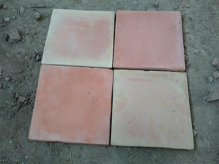 Carrelage Tomette Moulé Main Paille rosé 33x33x2 cm