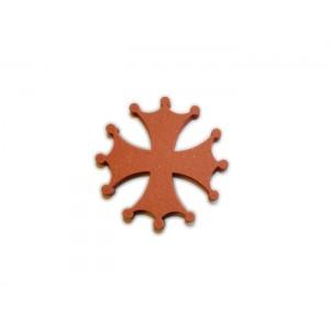 Croix Occitane en terre cuite 10cm ép. 1,8cm Rosé-Rouge LISSE