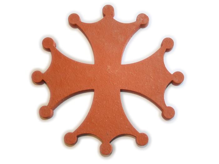 Croix Occitane en terre cuite 18cm ép.1,8cm Rosé-Rouge Lisse