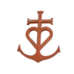 Croix Camarguaise en terre cuite 38cm ép.2cm Rosé-Rouge Modelé Vieilli Main