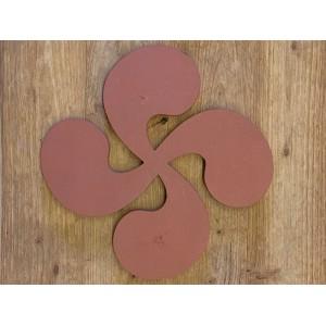 Croix Basque en terre cuite 28cm ép.1,8cm Rosé-Rouge Lisse
