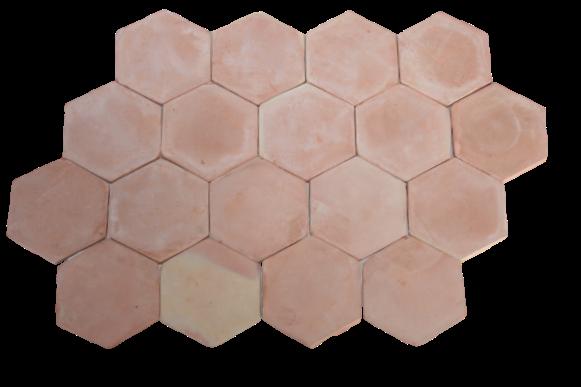 Carrelage Tomette Moulé Main Paille rosé Hexagone de 16 en 2 cm d'épaisseur