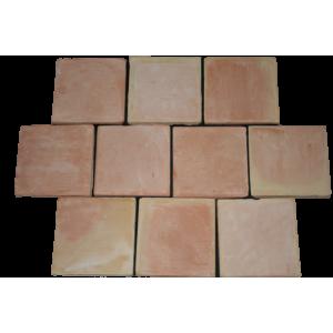 Carrelage Tomette Moulé Main Paille rosé 16x16x2 cm