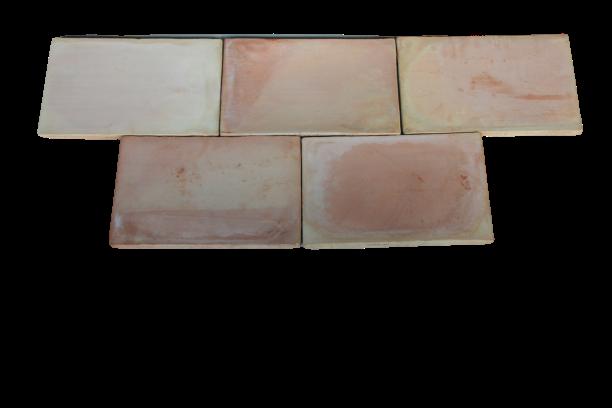 Carrelage Moulé Main Paille rosé 42x28x2 cm