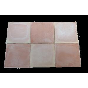 Carrelage Tomette Moulé Main Paille rosé 30x30x2 cm