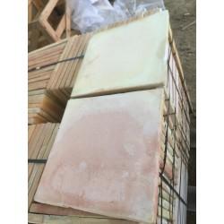 Carrelage Moulé Main Paille Rosé 42x42x2 cm