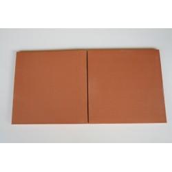 Carreaux terre cuite lisse saumon foncé 35.5x35.5x1.6 cm bords arrondis