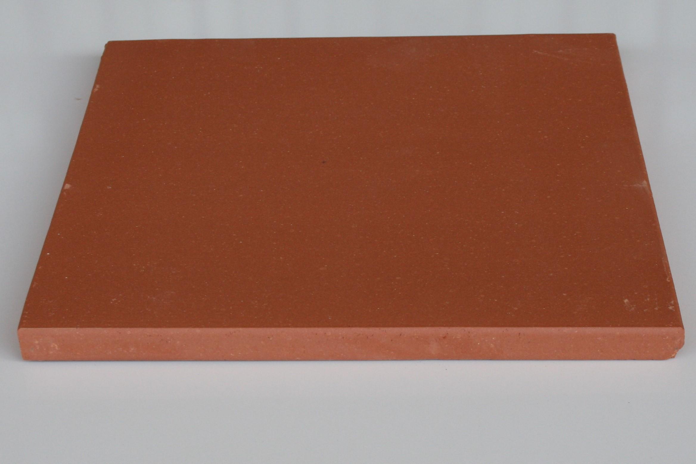 Carreaux terre cuite lisse saumon 28x28x1.6 cm bords arrondis