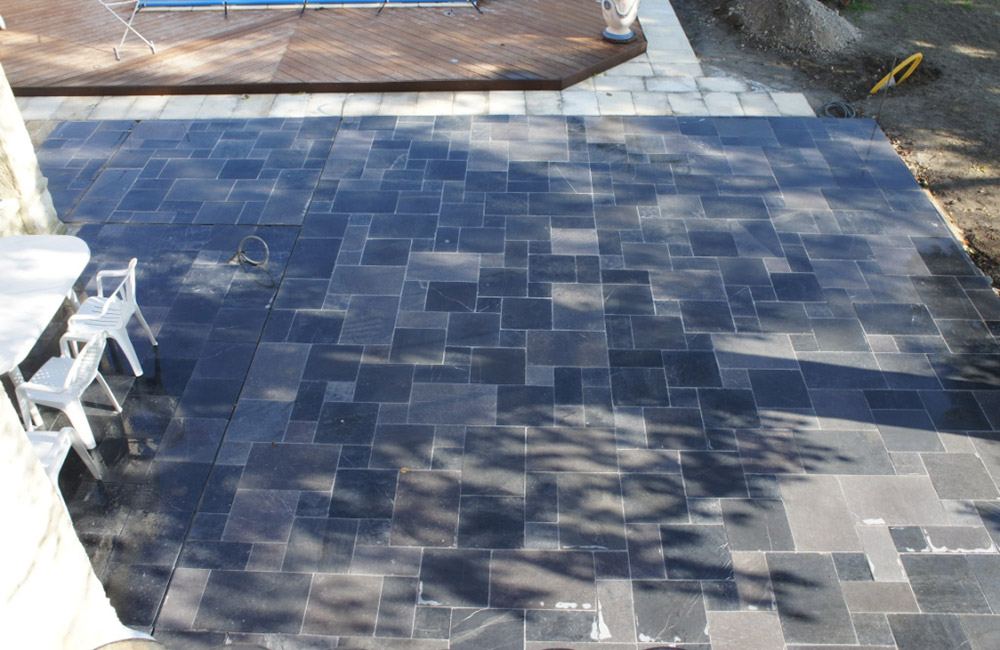 terrasse en pierre Bleue Du Vietnam Vieillie opus 4 formats